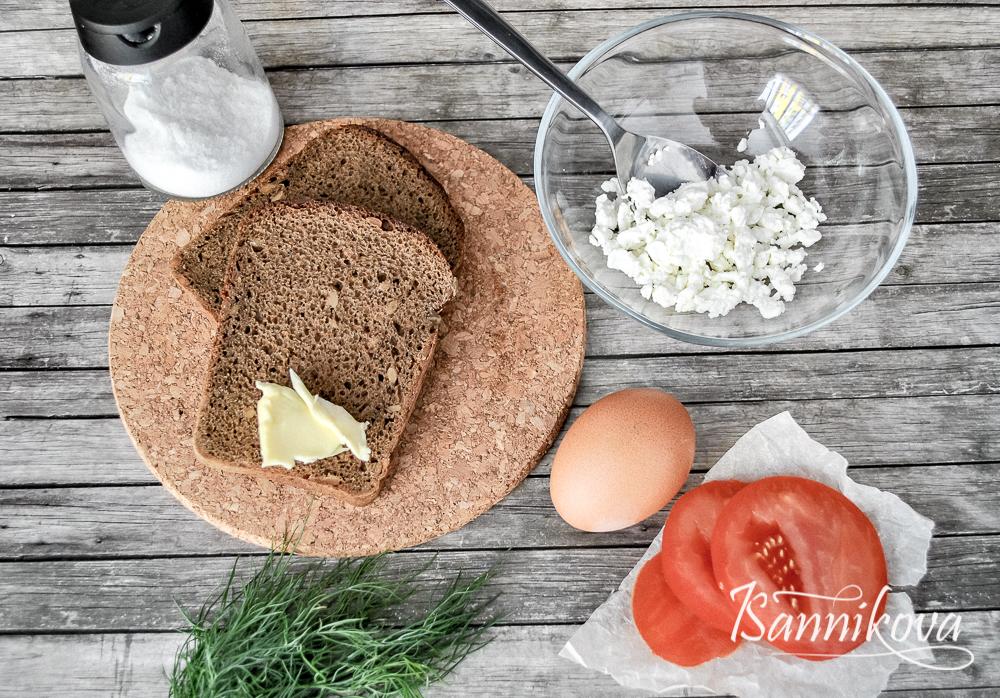 Список ингредиентов для тоста с творогом