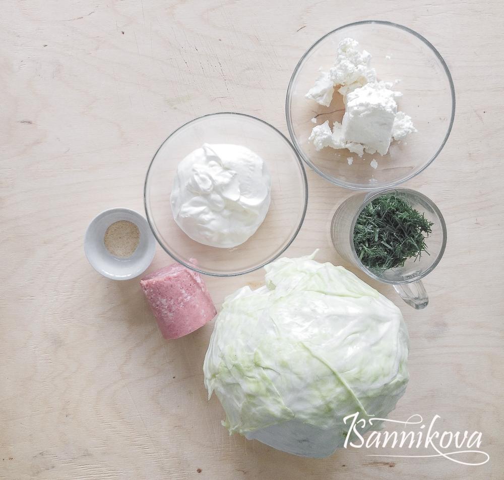 Список ингредиентов для капустного салата с копчёной колбасой