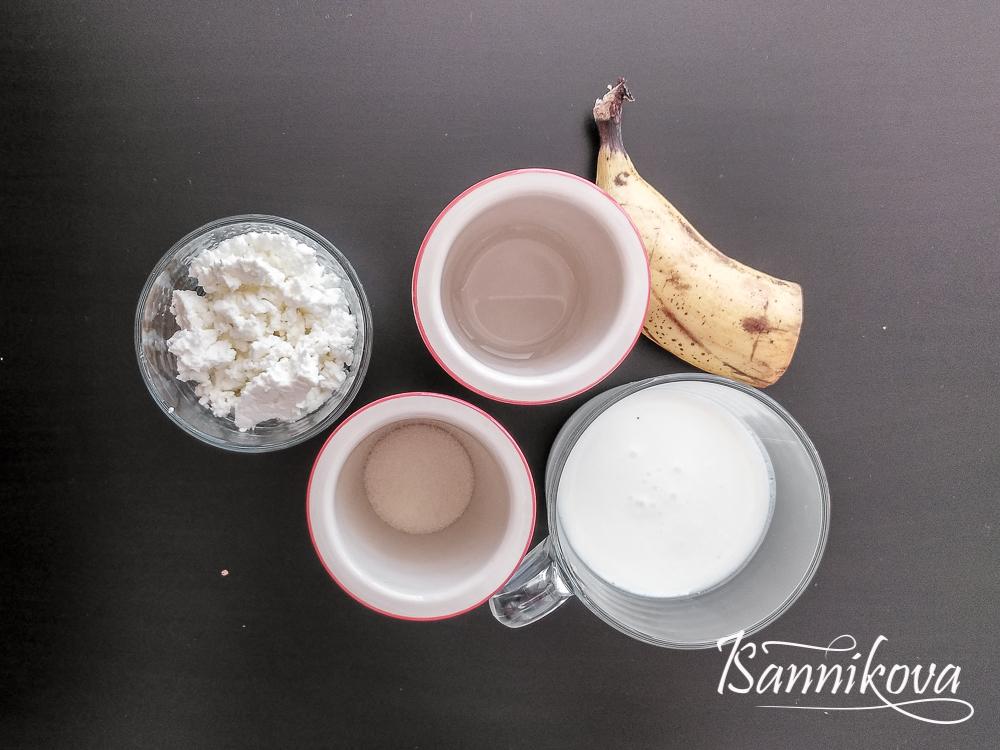 Список ингредиентов для творожно-бананового десерта без выпечки