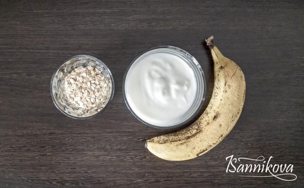 Список ингредиентов для овсяной каши с бананом в банке