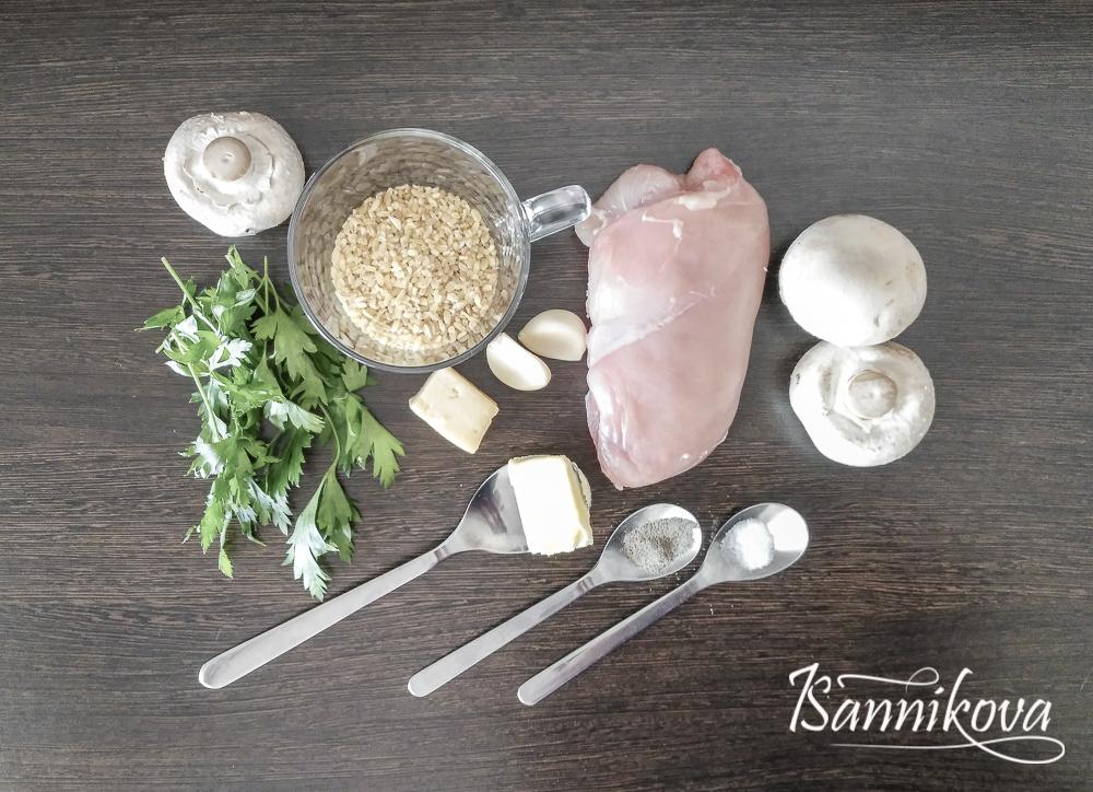 Список ингредиентов для булгура с курицей и грибами