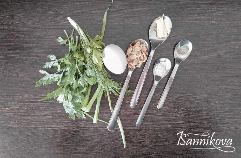 Список ингредиентов для яичницы с зеленью и арахисом