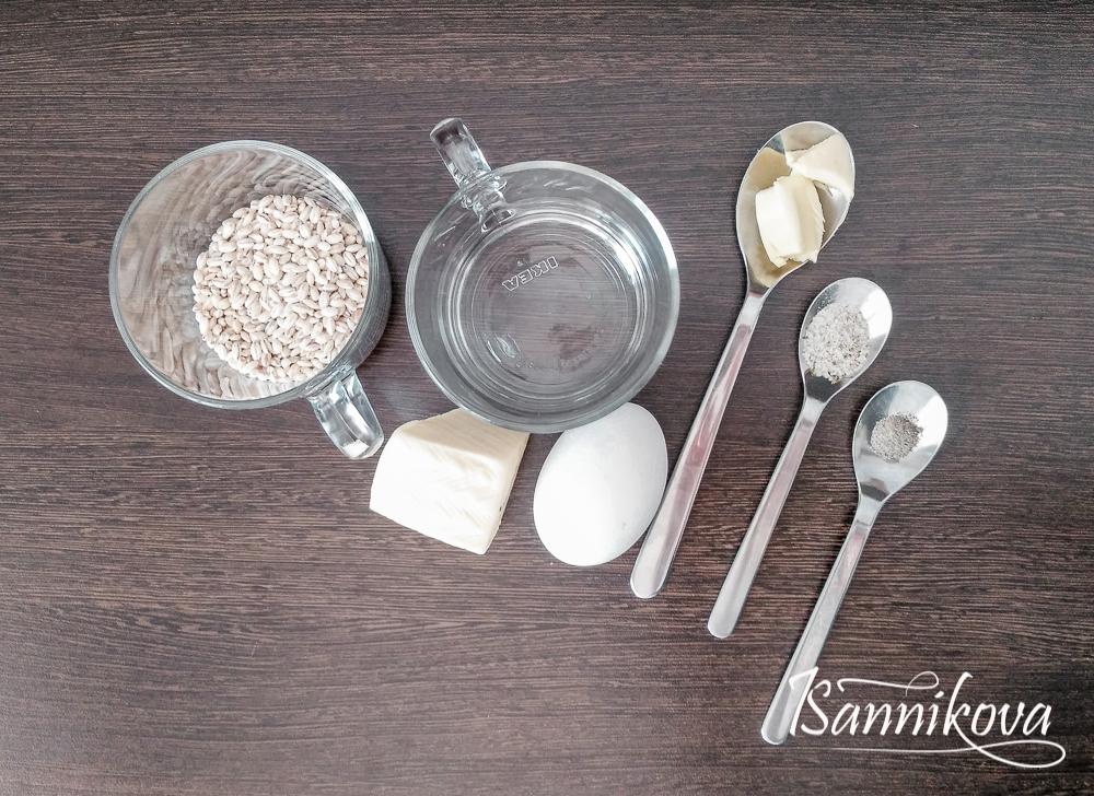 Список ингредиентов для перловки с сыром и глазуньей