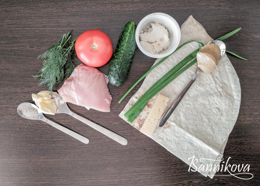 Ингредиенты для шаурмы с курицей