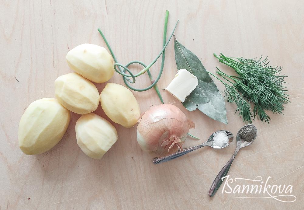 Список ингредиентов для отварного картофеля с репчатым луком