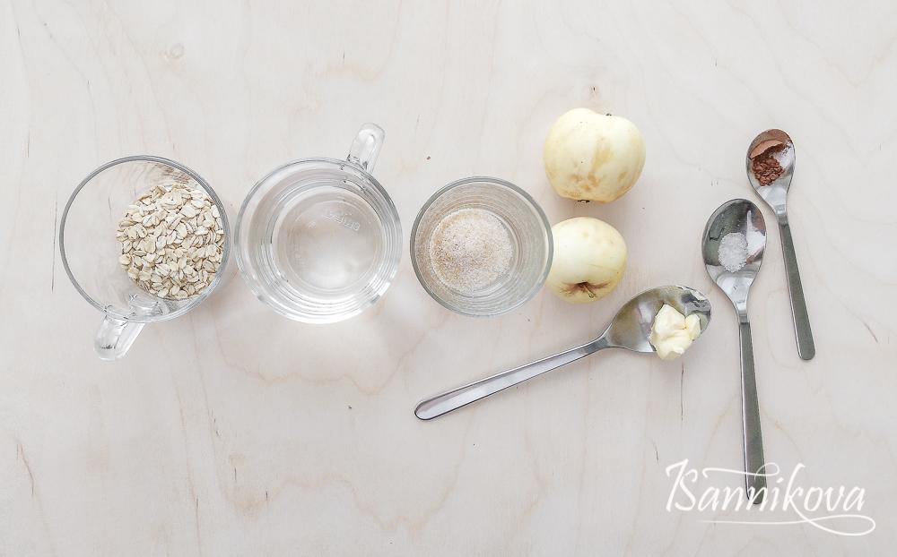 Список ингредиентов для овсяной каши с карамелизированными яблоками
