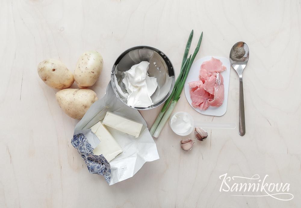 Список ингредиентов для картофельных лодочек с красной рыбой
